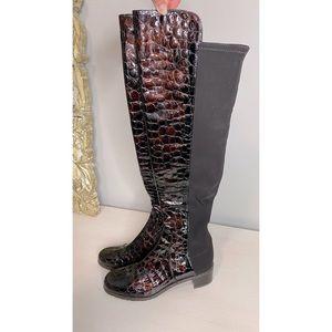 Stuart Weitzman Reserve 50/50 Brown Crocodile Boot